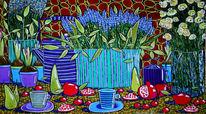 Frühling, Obst, Teekanne, Blumen