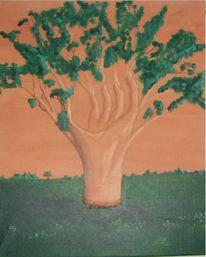 Landschaft, Baum, Hand, Leben