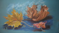 Herbst, Pastellmalerei, Blätter, Malerei