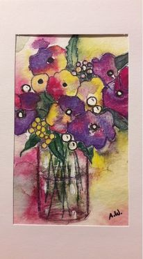 Vase, Geschenk, Blumen, Aquarell