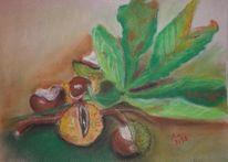 Pastellmalerei, Natur, Kastanien, Malerei