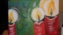 Kerzen, Weihnachten, Pastellmalerei, Acrylmalerei