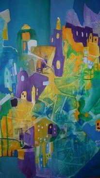 Stadt, Eis, Kalt, Malerei