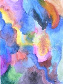 Surreal, Früchteteller, Bunt, Aquarellmalerei