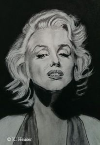 Schwarz weiß, Pastellmalerei, Weiß, Portrait