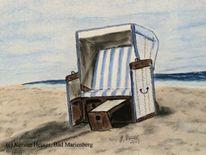 Pastellmalerei, Meer, Erholung, Strandkorb