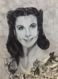 Schwarz weiß, Portraitzeichnung, Pastellmalerei, Legende