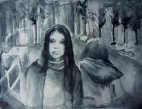 Aquarellmalerei, Trist, Landschaft, Schwarz weiß