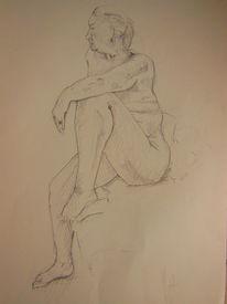 Akt, Weiblich, Zeichnung, Zeichnungen