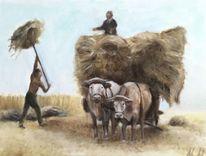 Weizen, Ernte, Kuh, Arbeit
