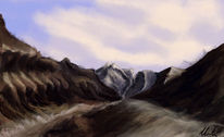 Berge, Landschaft, Digitale kunst,