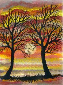 Abendrot, Silhouette, Baum, Sonnenuntergang