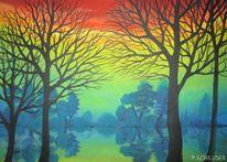 树木, Abstrakt, Silhouette, Regenbogen