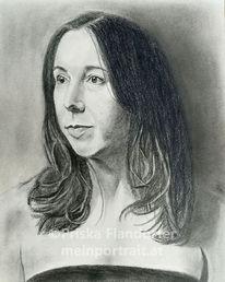 Frau, Selbstportrait, Bleistiftzeichnung, Portrait