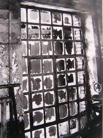 Maschinenhalle, Schwarzweiß, Fenster, Architektur