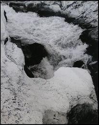 Schwarzweiß, Lappland, Wildbach, Fluss