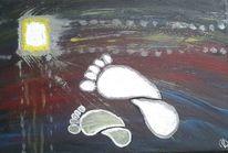 Fuß, Acrylmalerei, Gelb, Schritt