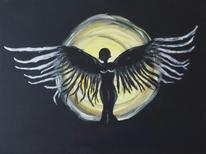 Schwarz, Gelb, Acrylmalerei, Tränen