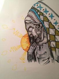 Bunt, Sonne, Indianer, Zeichnungen