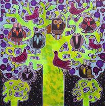 Vogel, Baum, Eule, Malerei