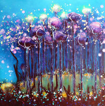 Pflanzen, Acrylmalerei, Blumen, See