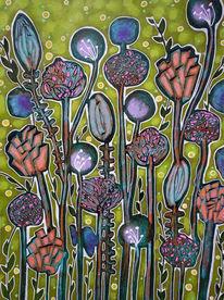 Blumen, Blüte, Novemberfrühling, Malerei
