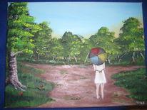 Baum, Regenschirm, Landschaft, Mädchen