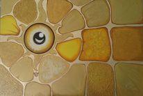 Acrylmalerei, Abstrakt, Gold, Augen