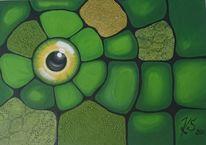 Abstrakt, Augen, Grün, Schlange