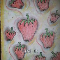 Stillleben, Kreidezeichnung, Modern, Erdbeeren