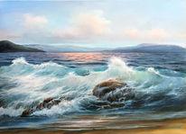 Welle, Wasser, Stein, Meerlandschaft