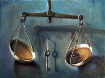 Schlüssel, Blau, Ölmalerei, Waage