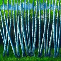 Weralgosweb, Malerei, Birkenwald,