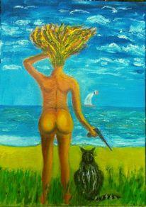 Küste, Frau, Segelboot, Malerei