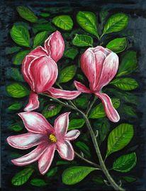 Magnolienblüten, Malerei