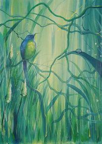 Vogel, Blau, Zweig, Tautropfen