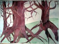Baum, Aquarellmalerei, Rot, Geisterwald