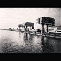 Fotografie, Hafen, Köln, Monochrom
