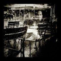 Paris, Regen, Schwarzweiß, Spiegelung
