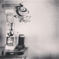 Schwarzweiß, Spiegelung, Kaffee, Stillleben