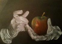 Karton, Weiß, Halt, Apfel