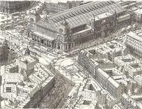 Zeichnung, Bahnhof, Realismus, Bahn