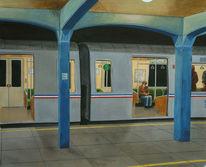 New york, Malerei, Bahn, Gemälde