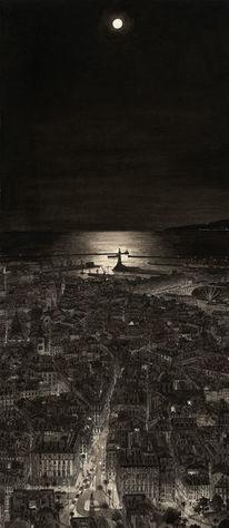 Stadt, Gemälde, Nacht, Realismus