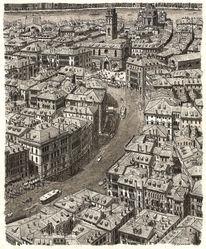 Landschaft, Zeichnung, Architektur, Venedig