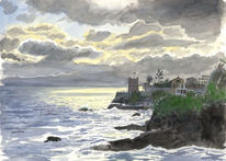 Malerei, Mittelmeer, Italien, Aquarellmalerei