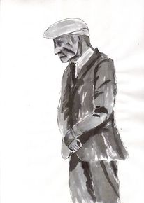 Alt, Mann, Zeichnung, Schwarz weiß