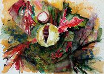 Blätter, Äste, Kastanien, Herbst