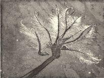 Druck, Blumen, Druckgrafik, Blätter
