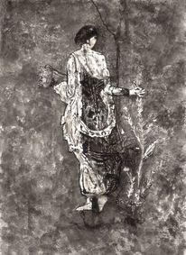 Pflanze leben, Frau, Schwarz weiß, Zeichnung